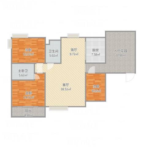 城市主场(嘉信苑)-1栋13013室1厅1卫1厨160.00㎡户型图