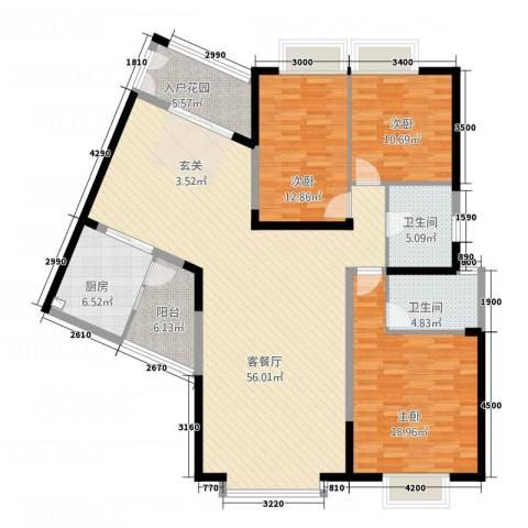 中天维港3室1厅2卫1厨176.00㎡户型图