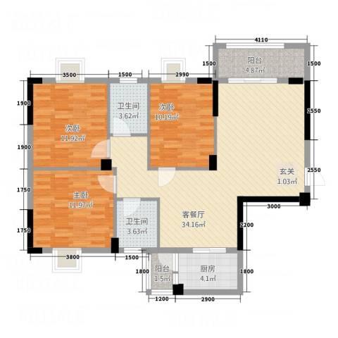 阳光花园3室1厅2卫1厨85.96㎡户型图
