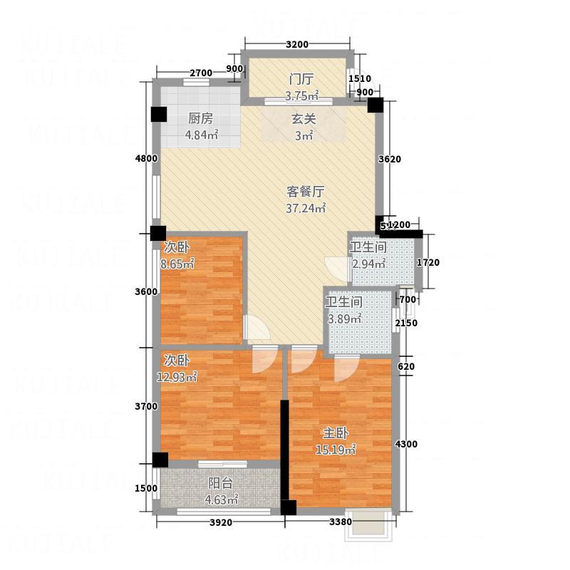 兆基光明城114.33㎡B户型3室2厅2卫1厨