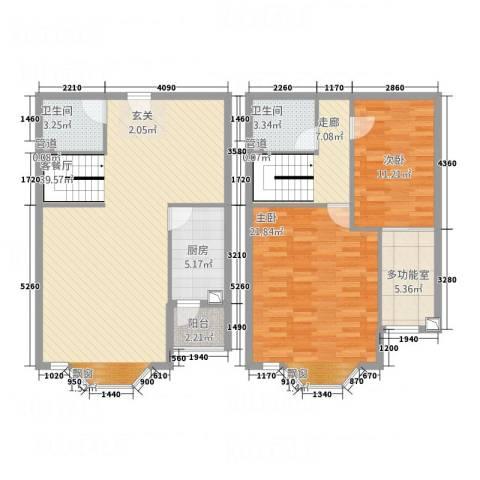万汇广场2室1厅2卫1厨138.00㎡户型图