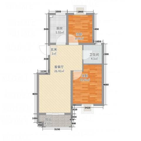 东方明珠嘉苑2室1厅1卫1厨89.00㎡户型图