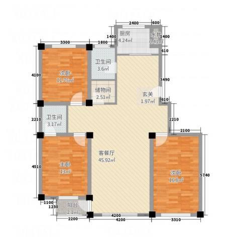 北海名城3室1厅2卫1厨147.00㎡户型图