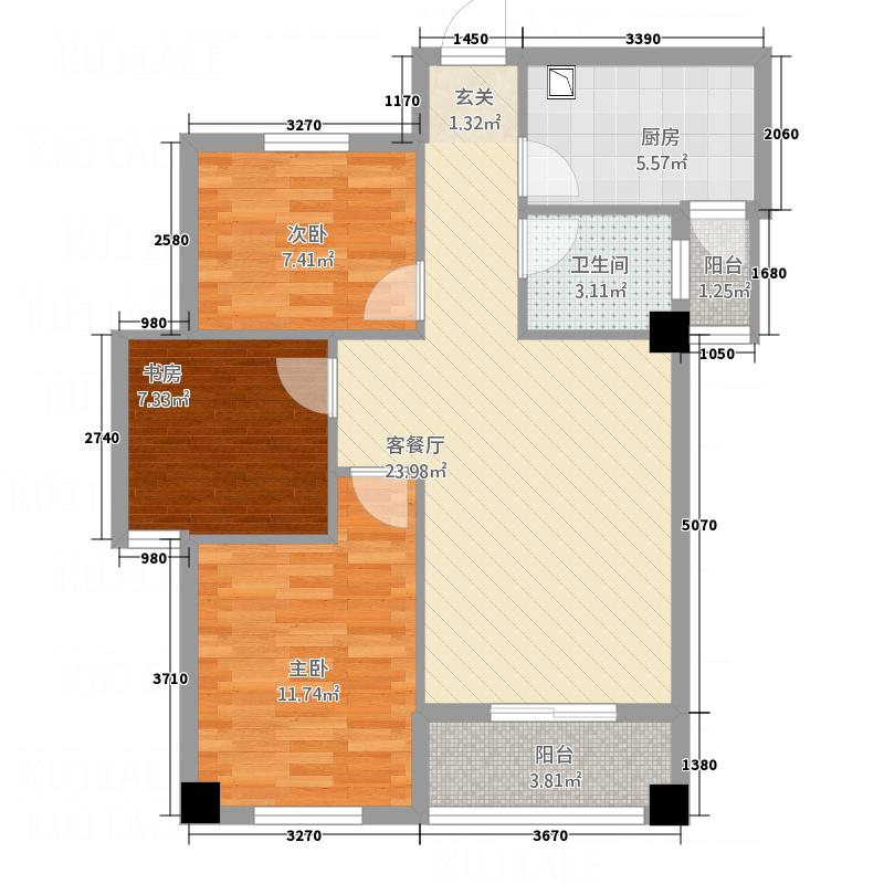 青龙大厦B户型2室2厅1卫1厨