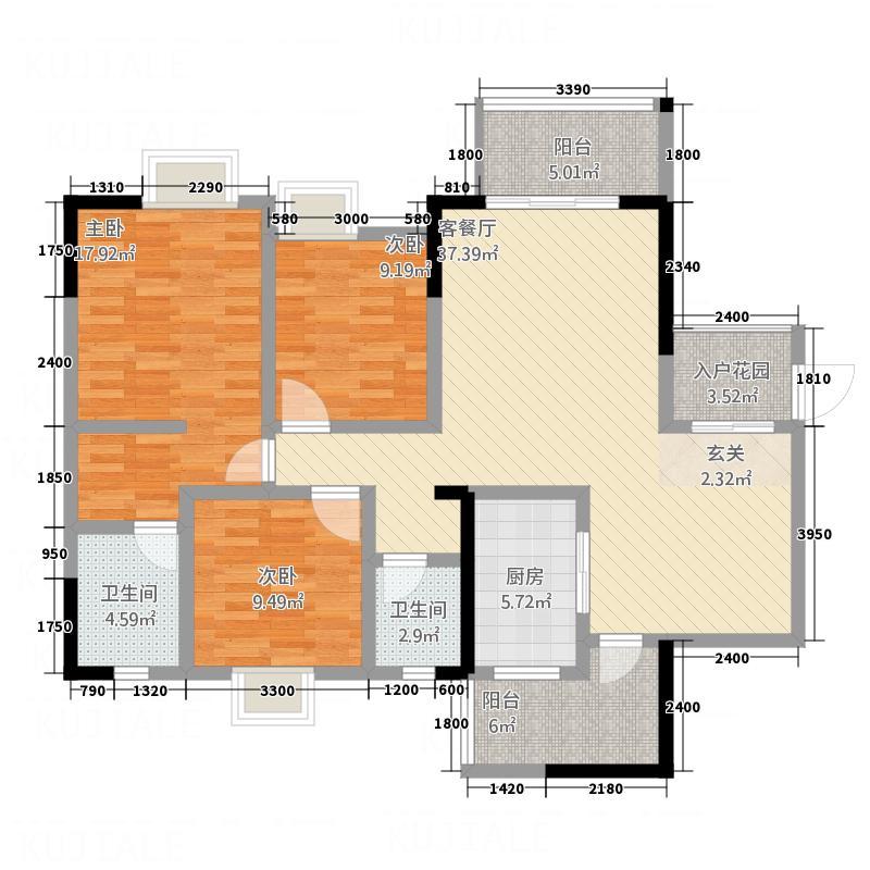 奥鑫・锦城1134.20㎡C1双卫户型3室2厅2卫1厨