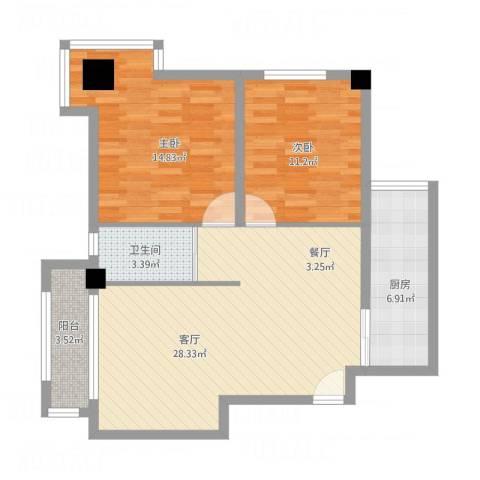 时代财富城2室1厅1卫1厨98.00㎡户型图