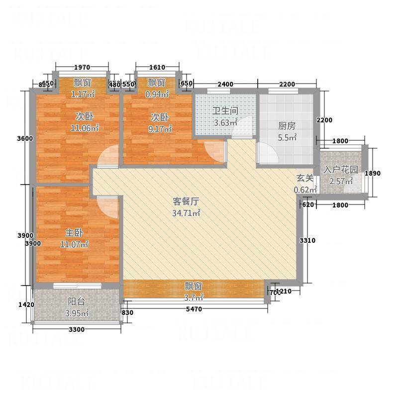 凤凰财富广场114.70㎡D户型3室2厅1卫1厨