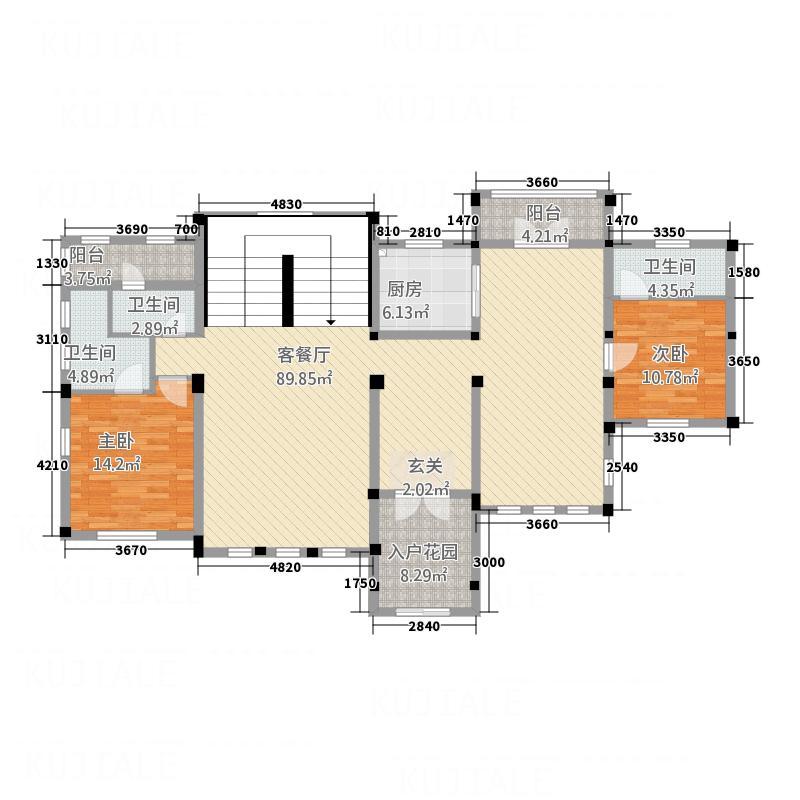 蓝湾・上林院18.00㎡K-首层户型2室2厅3卫1厨