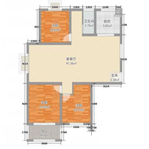 鼎天广场3室1厅1卫1厨134.00㎡户型图