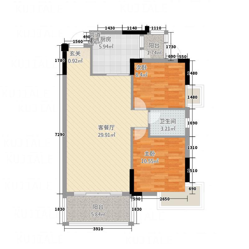 荔园香堤93.00㎡荔园香堤户型图B户型2室2厅1卫1厨户型2室2厅1卫1厨