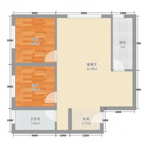 恒安新东城2室1厅1卫1厨80.00㎡户型图