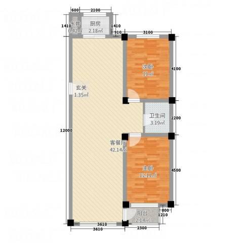 北海名城2室1厅1卫1厨104.00㎡户型图