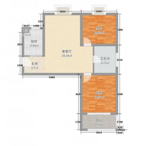 鼎天广场2室1厅1卫1厨69.23㎡户型图