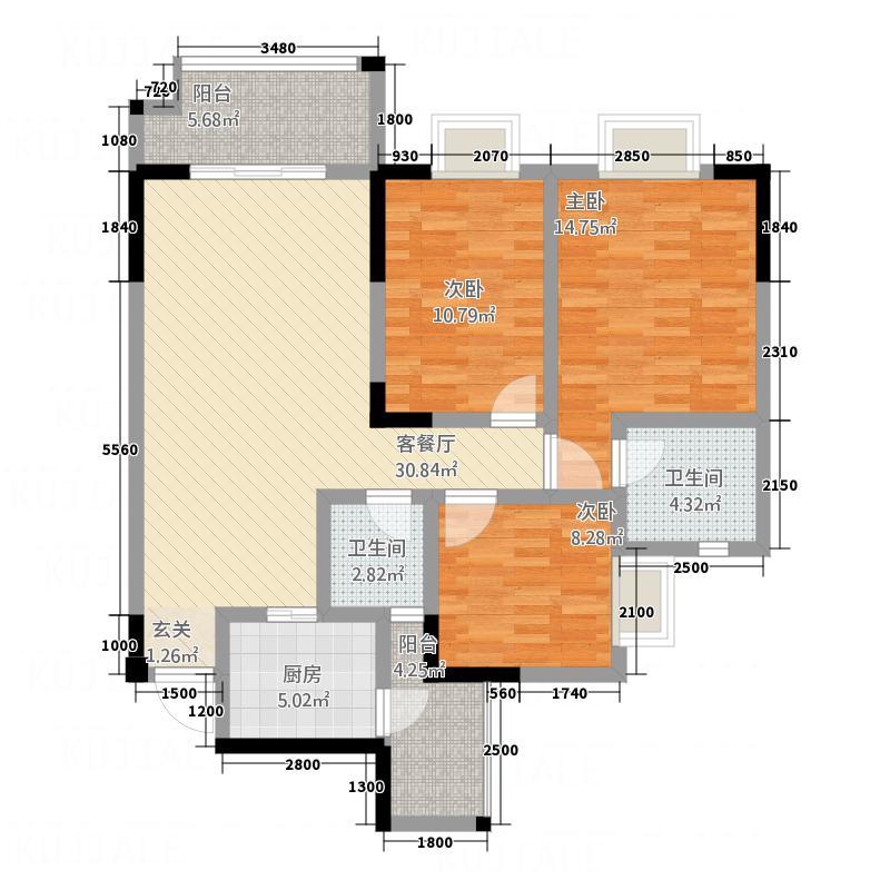奥鑫・锦城311.20㎡g3双卫户型3室2厅2卫1厨