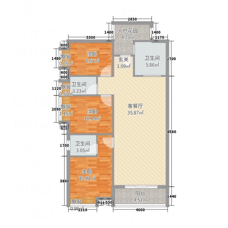 凤凰财富广场131.20㎡E户型3室2厅2卫1厨