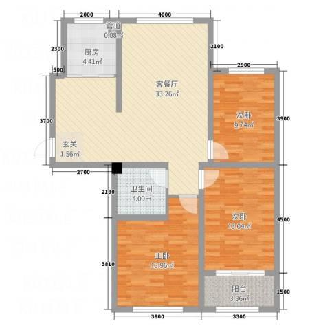 宏宇・龙湖湾3室1厅1卫1厨82.43㎡户型图