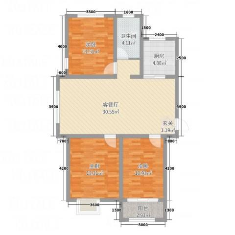 宏宇・龙湖湾3室1厅1卫1厨78.21㎡户型图