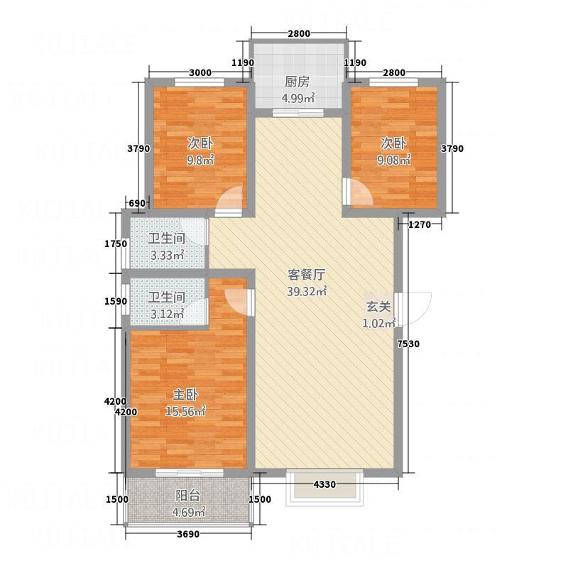 景和花园127.30㎡2户型3室2厅2卫1厨
