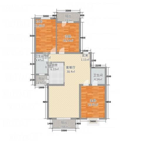 北晨峰景3室1厅2卫1厨149.00㎡户型图