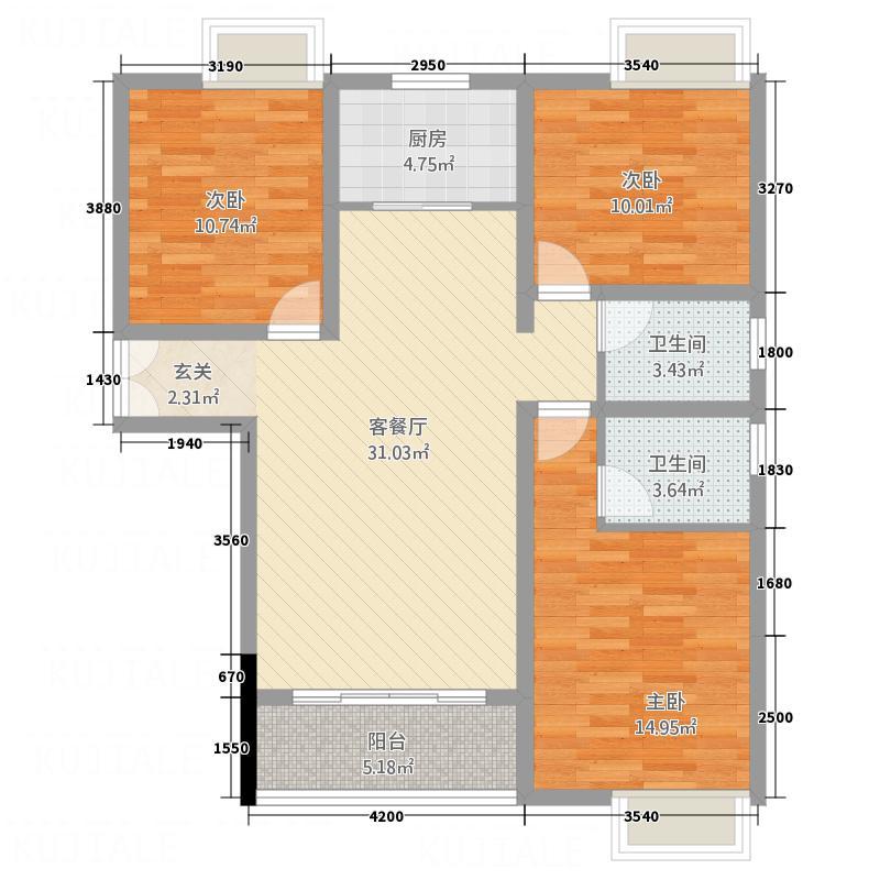 云都壹号公馆116.82㎡D3户型3室2厅2卫1厨