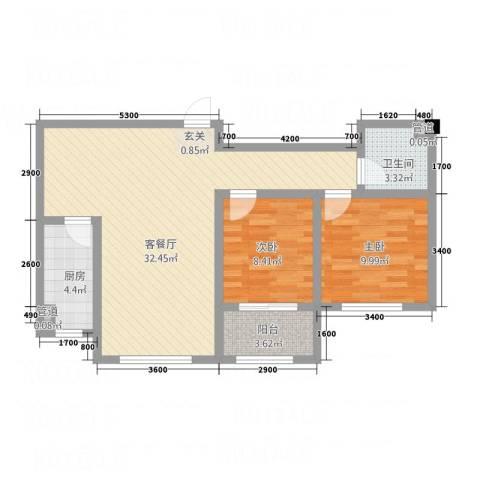 宏宇・龙湖湾2室1厅1卫1厨62.31㎡户型图