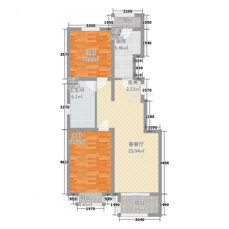 弘鼎庄园C-b 2室2厅1卫1厨 96.62㎡