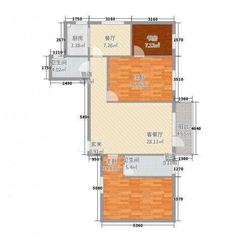 升华苑3室2厅2卫1厨133.00㎡户型图