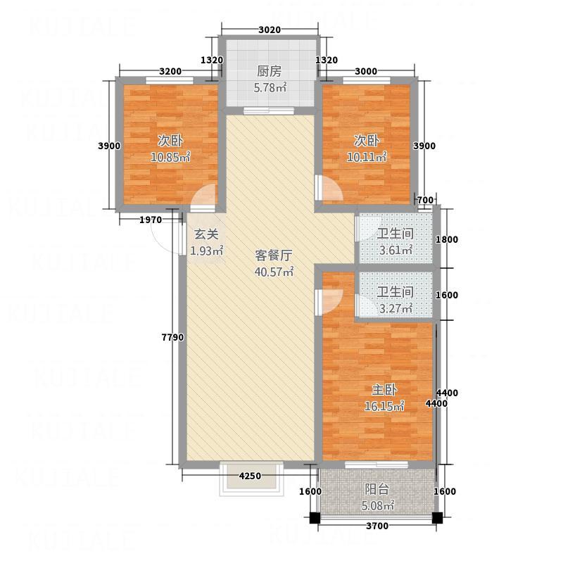 景和花园127.30㎡户型3室2厅2卫1厨