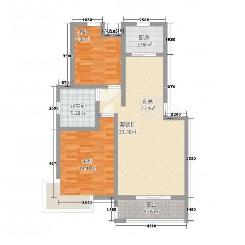 鲲鹏・岭秀城2室1厅1卫1厨80.92㎡户型图