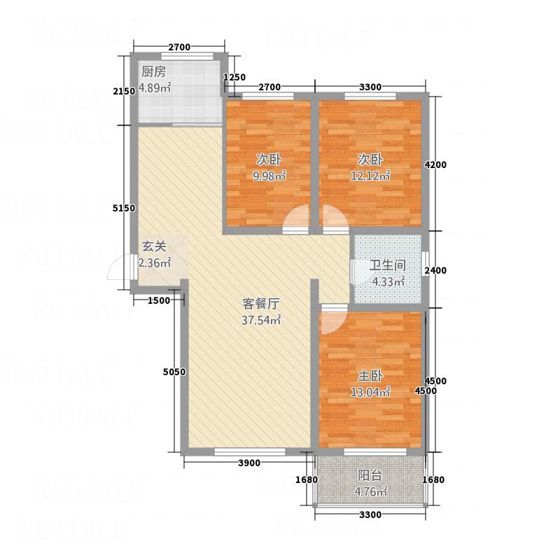 锦厦绿园广场118.60㎡2号楼住宅-D1户型3室2厅1卫