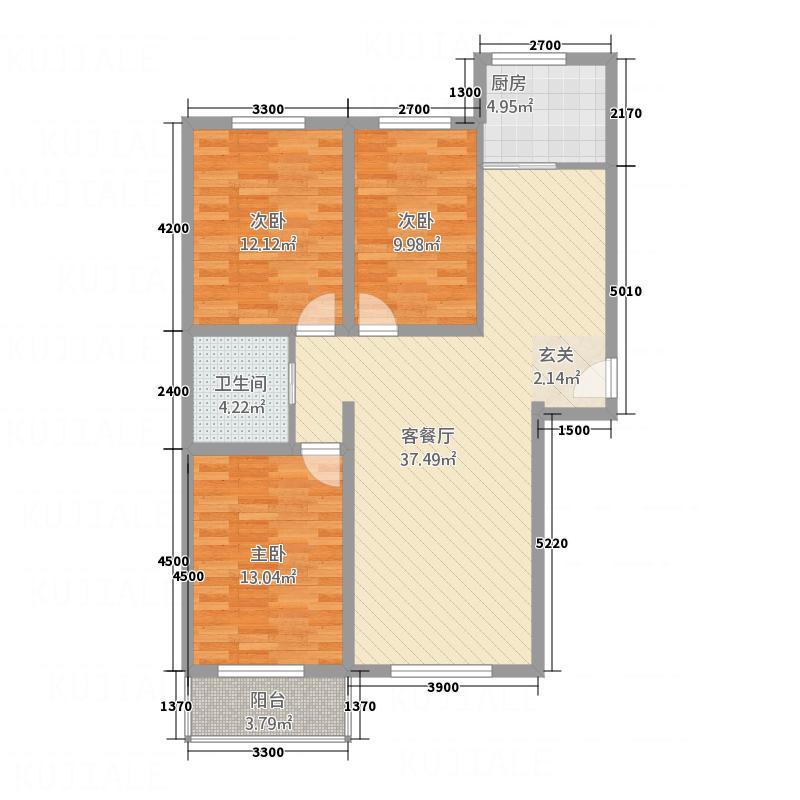 锦厦绿园广场118.50㎡2号楼住宅-D户型3室2厅1卫