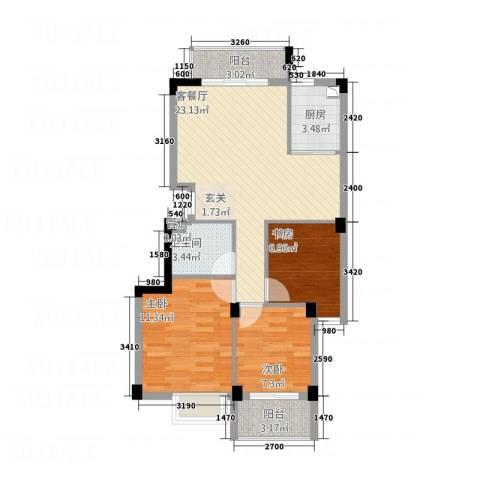 东城国际二期3室1厅1卫1厨61.87㎡户型图