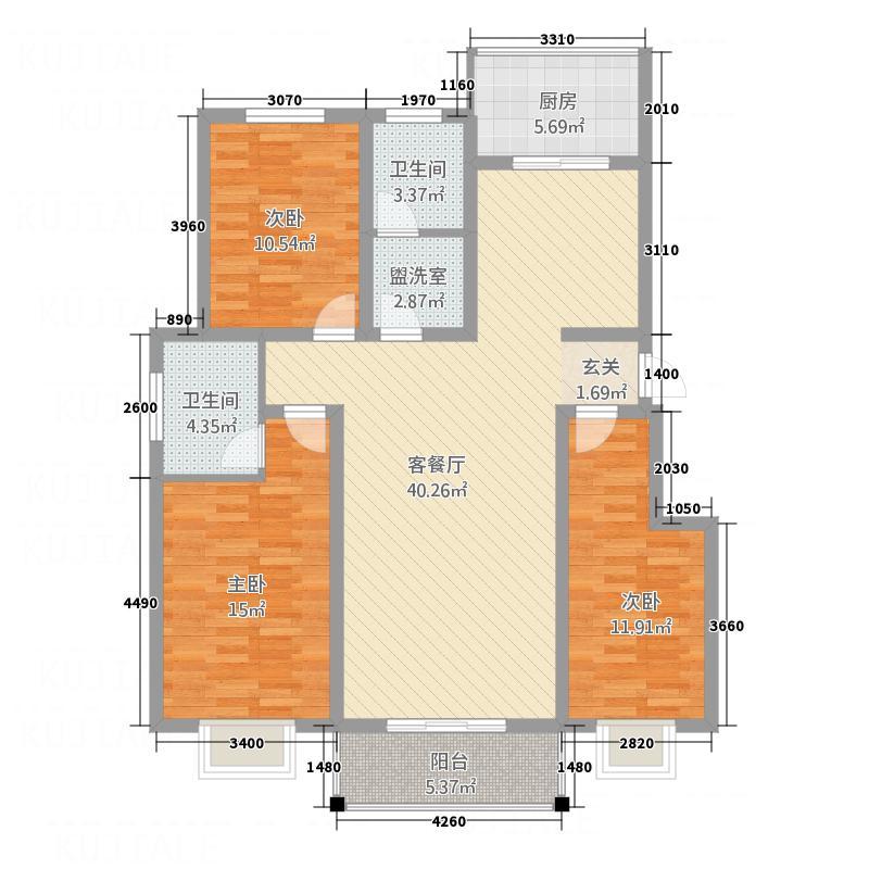 景和花园142.00㎡户型3室2厅2卫1厨
