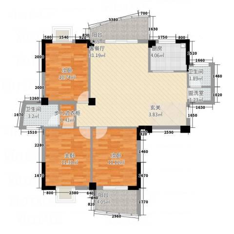 东城国际二期3室2厅2卫1厨712.00㎡户型图
