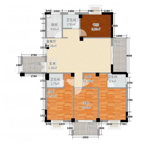 东城国际二期4室1厅3卫1厨7151.00㎡户型图