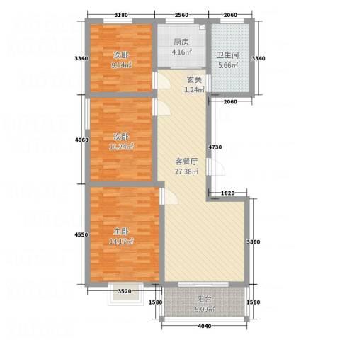 北景城3室1厅1卫1厨112.00㎡户型图