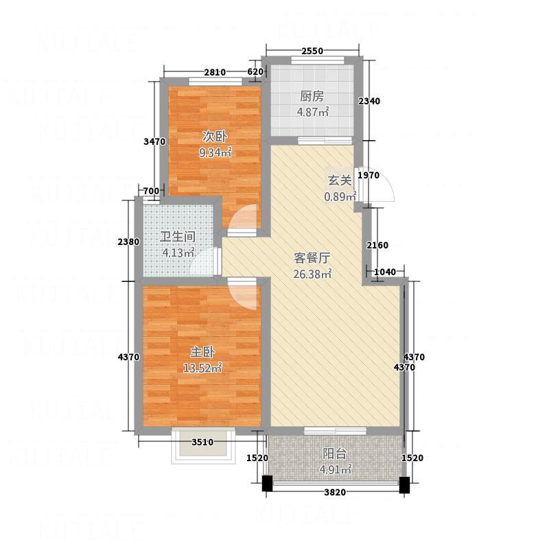 景和花园1.13㎡户型2室2厅1卫1厨