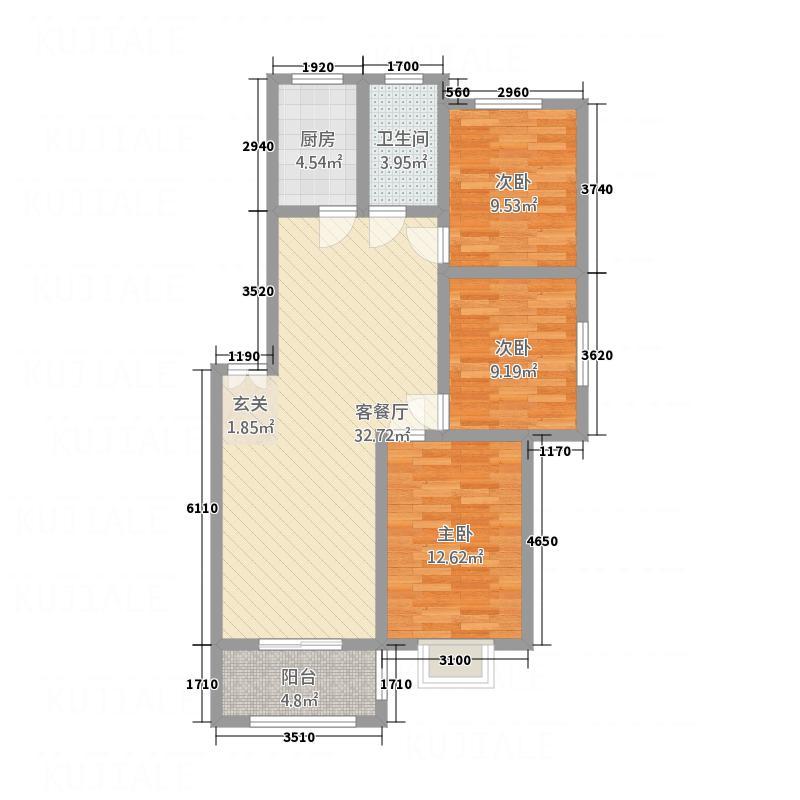 北景城111.00㎡2户型3室2厅1卫1厨