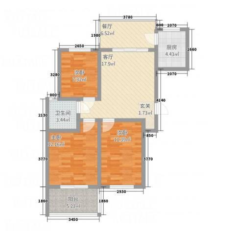 北景城3室2厅1卫1厨68.37㎡户型图