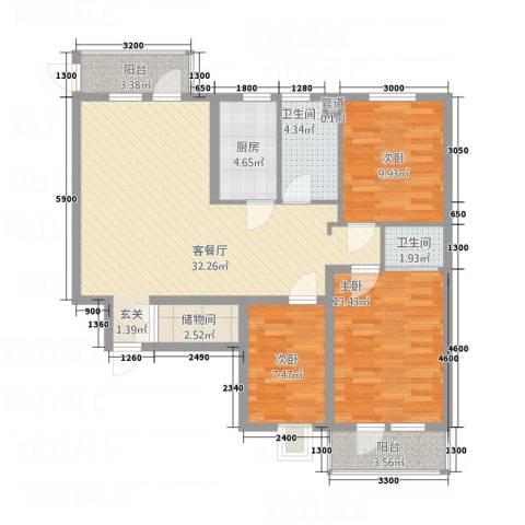 北晨峰景3室1厅2卫1厨120.00㎡户型图