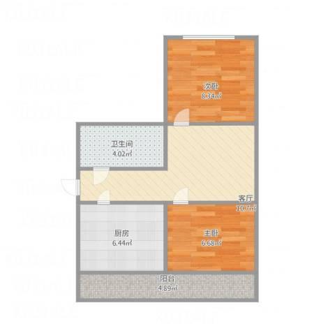 司法警官宿舍2室1厅1卫1厨57.00㎡户型图