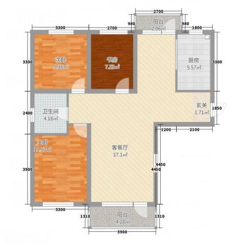 升华苑3室1厅1卫1厨117.00㎡户型图