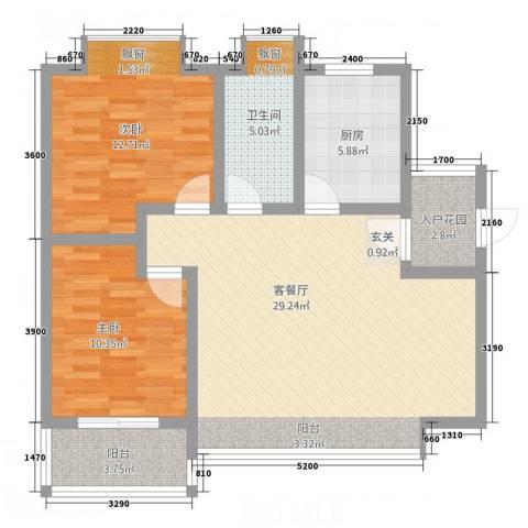 凤凰财富广场2室1厅1卫1厨69.77㎡户型图