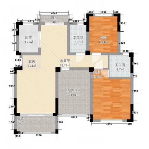 世界名城2室1厅2卫1厨115.00㎡户型图