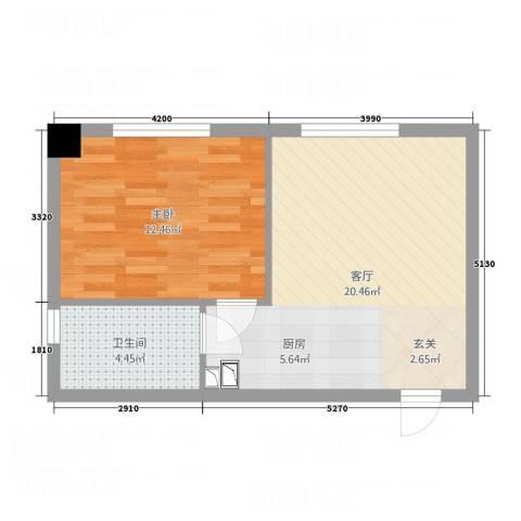 凯宾国际1室1厅1卫0厨52.00㎡户型图
