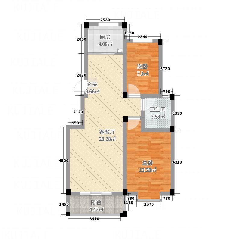 珠江豪庭88.00㎡户型2室2厅1卫1厨