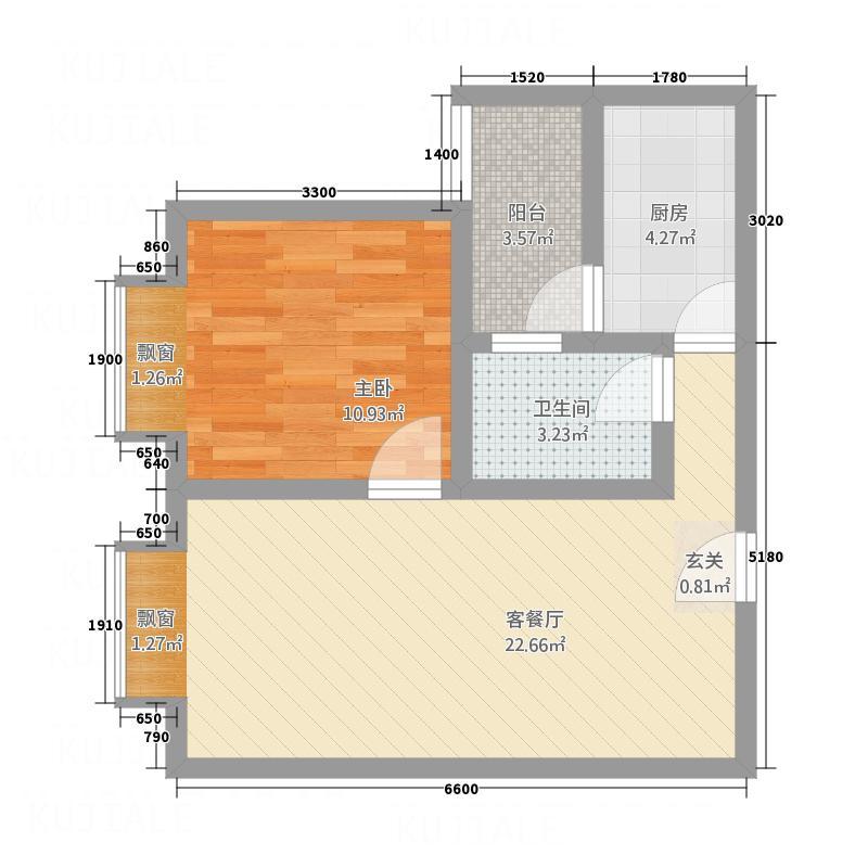 凤凰财富广场65.40㎡G户型1室2厅1卫1厨