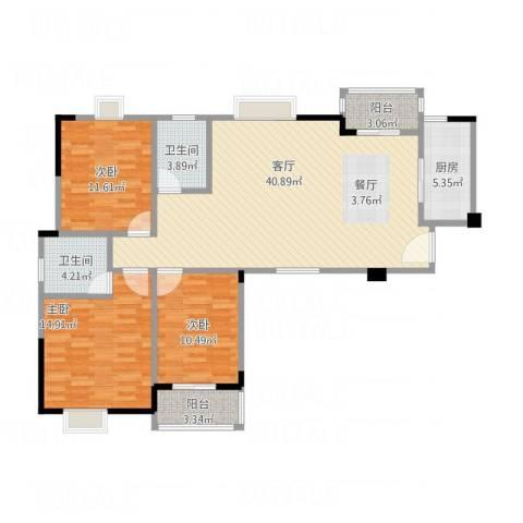 华汉广场3室1厅2卫1厨125.00㎡户型图