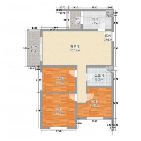 岗城大厦3室1厅1卫1厨113.00㎡户型图