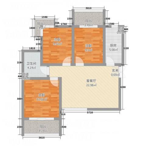 亿龙国际3室1厅1卫1厨72.24㎡户型图